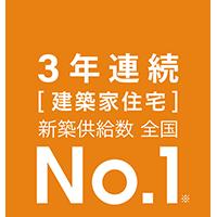2年連続 建築家住宅 新築供給数 全国No.1