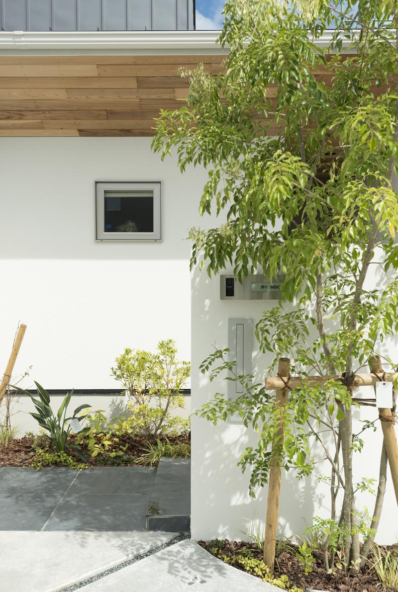 2つの庭から四季折々の風情を感じる家