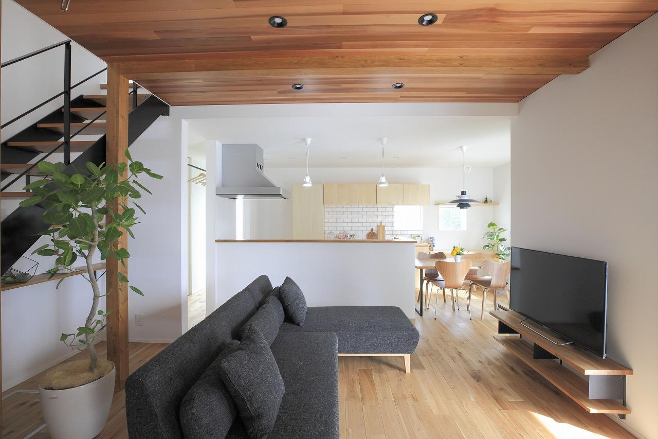 白壁に観葉植物の緑が映える木の温かみのある家